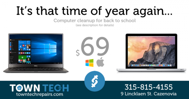 Back to School 2018 – Computer Cleanup Service and Upgrades